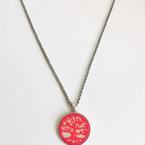 Colgante árbol de la vida rosa con cadena de acero [3]