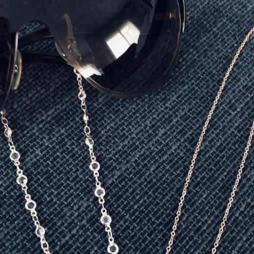Cordón gafas con cristales y cadena color oro rosa
