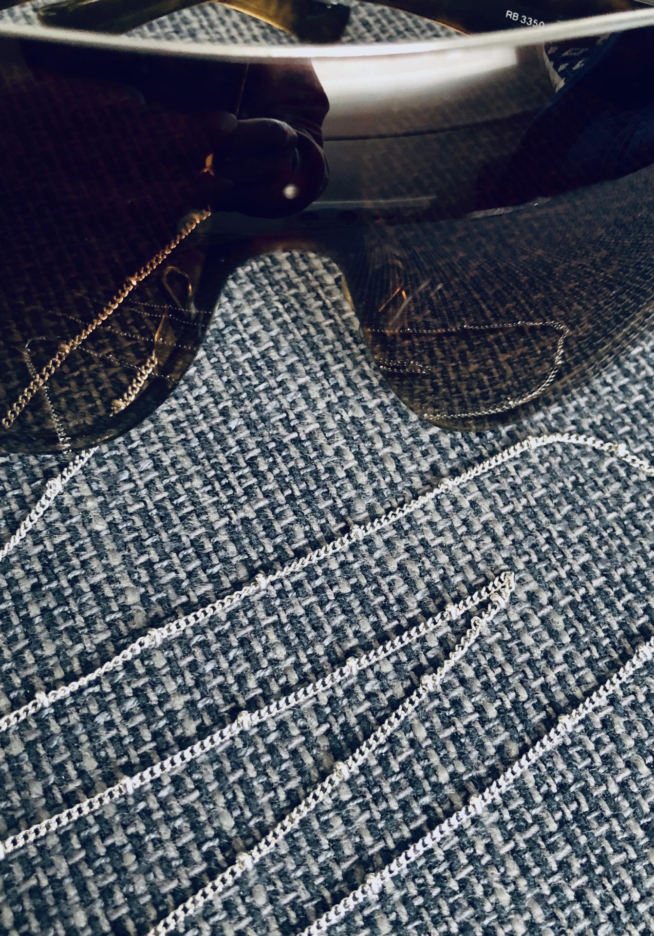 Cadena gafas de acero con bolitas pequeñas