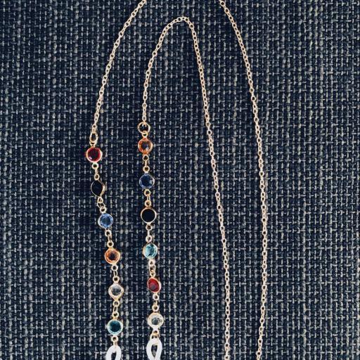 Cordón gafas con cristales  de colores y cadena dorada [1]