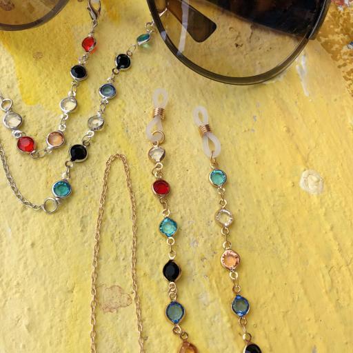 Cordón gafas con cristales  de colores y cadena dorada