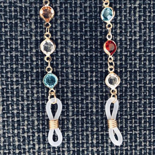 Cordón gafas con cristales  de colores y cadena dorada [3]