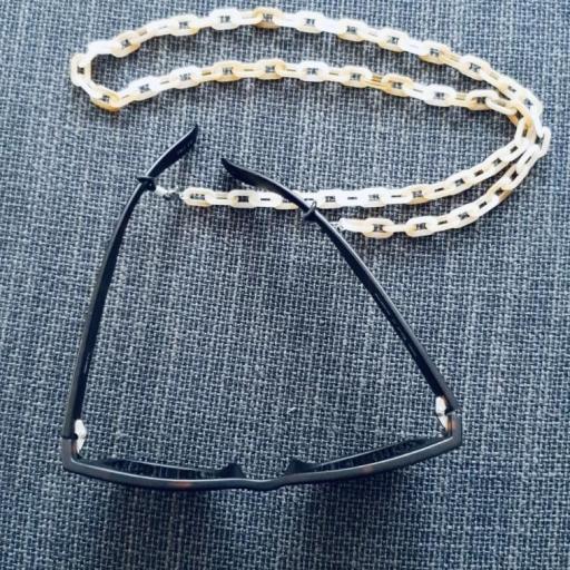 Cadena gafas con eslabones de resina beige crudo y marrón claro [3]