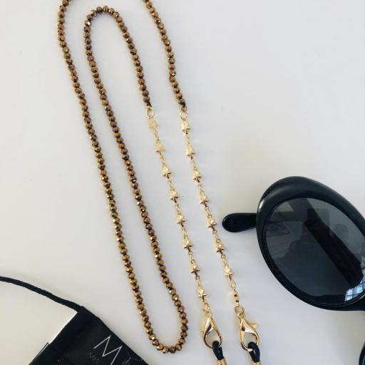 Cuelga mascarillas o gafas con cristales color bronce  y cadena de estrellas dorada [3]