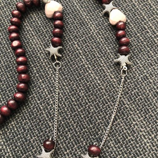 Collar- cordón para gafas con bolas de madera y estrellas [1]