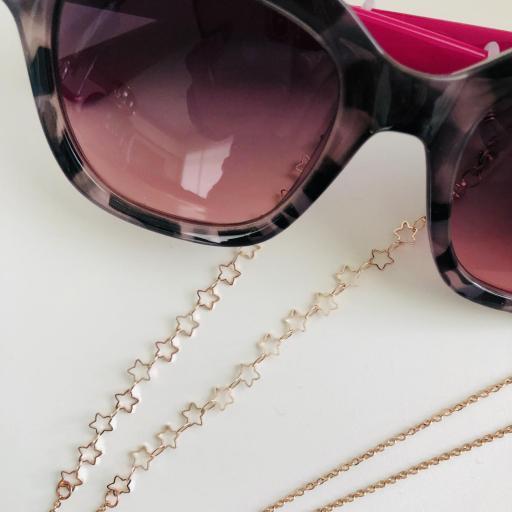 Cordón de gafas con cadena de estrellas color oro rosa [2]