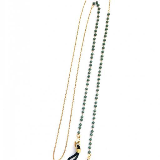 Cordón cuelga gafas y mascarillas con cadena dorada y bolitas verdes [3]