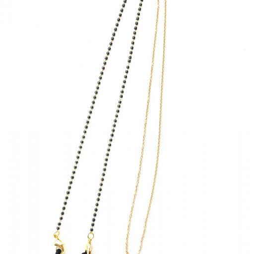 Cordón cuelga gafas y mascarillas con cadena dorada y tubitos gris oscuro [3]