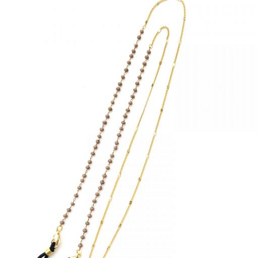 Cordón cuelga gafas y mascarillas con cadena dorada y bolitas color visón [3]
