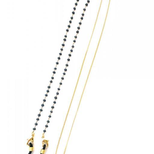 Cordón cuelga gafas y mascarillas con cadena dorada y bolitas color azul [3]