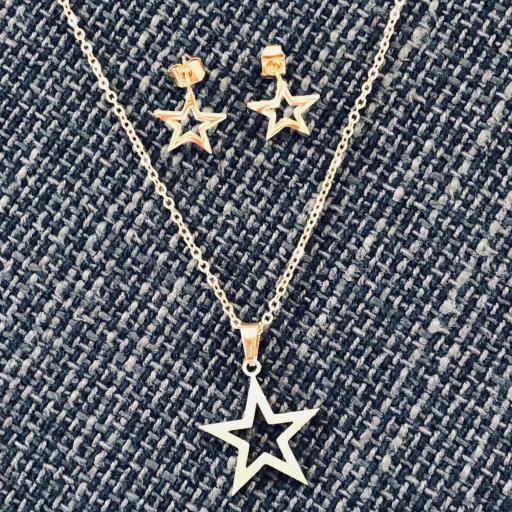 Conjunto  pendientes y colgante estrella dorada de acero