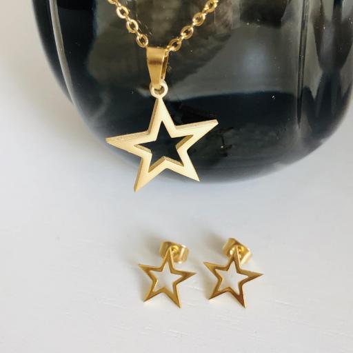 Conjunto  pendientes y colgante estrella dorada de acero [3]