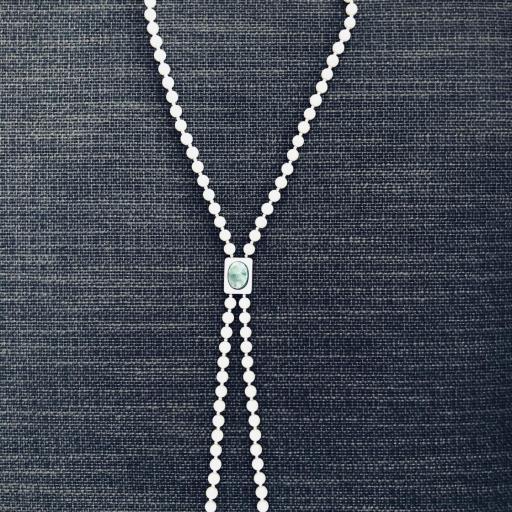 Collar de perlas de nácar y piedra verde [0]