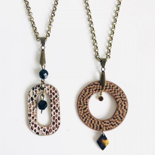 """Collar """"O""""c de piel animal print marrón y beige y cristal checo [3]"""