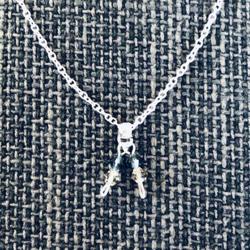 Collar de plata con cristales Swarovski en  color azul mar y visón