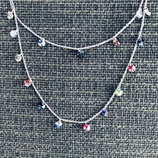 Collar doble de acero con cristales de colores [1]