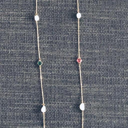 Collar plateado con cristales fucsia y verde  [1]