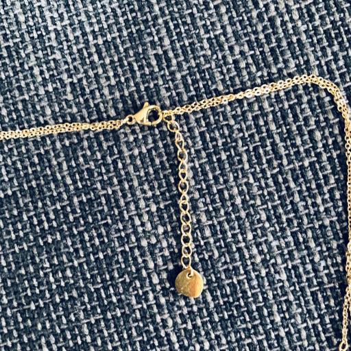 Collar doble en dorado y rosado con media luna color marfil  [3]