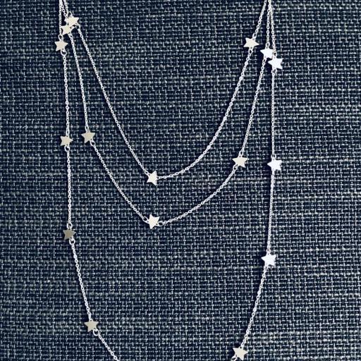Collar triple  de estrellas plateadas [1]