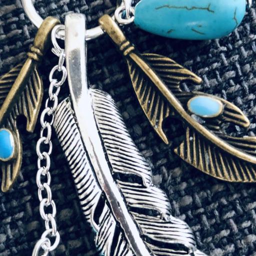 Collar de plumas y turquesas [1]
