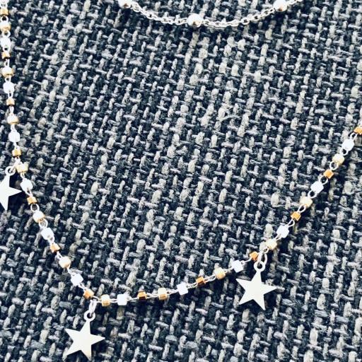 Collar doble  con estrellas plateadas y tonos cobre dorados [2]