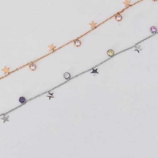 Collar rosado con cristales de colores [2]