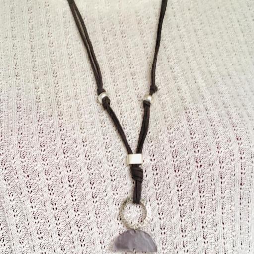 Collar gris marengo y plateado con perla [1]