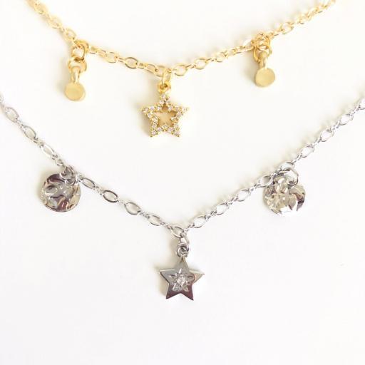 Collar gargantilla  plateado con estrella y círculos irregulares [2]