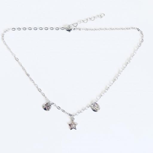 Collar gargantilla  plateado con estrella y círculos irregulares [3]