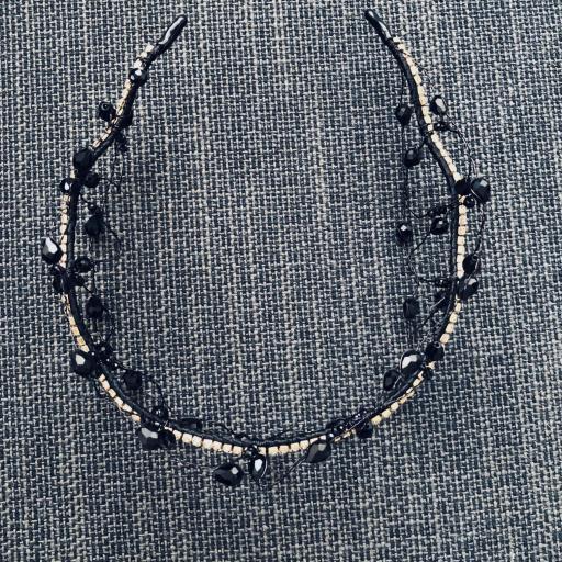 Diadema negra estilo barroco con circonitas y cristales  [1]