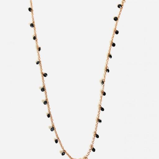 Gargantilla collar rosa con cristales negros [2]