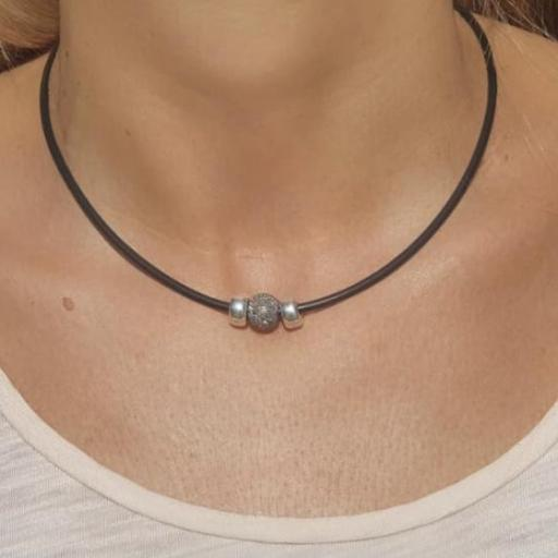 """Gargantilla colección """"Valentina"""" en rutenio diamantado y plata [2]"""