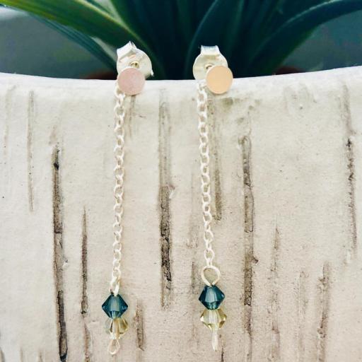 Pendientes de plata y cristales Swarovski azul mar y visón [3]