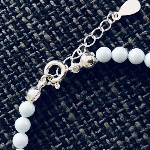 Pulsera de plata y perlas Swarovski azul pastel [2]