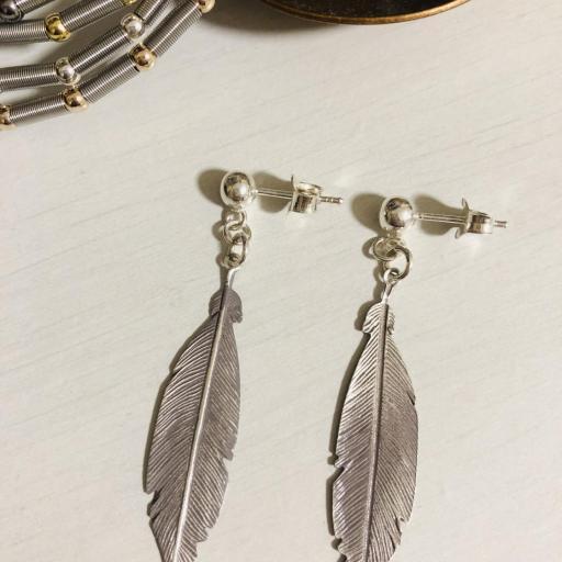 Pendientes  pluma de plata  [3]