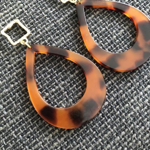 """Pendientes lágrima """"animal print"""" en tonos anaranjados y negros [2]"""