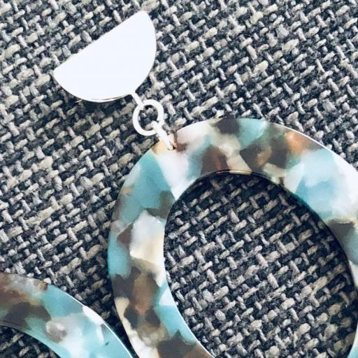 """Pendientes ovalados """"animal print""""  en color turquesa, marrón y transparente [2]"""
