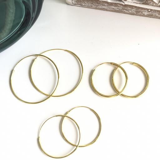Aros de plata con baño de oro 40 mm [3]