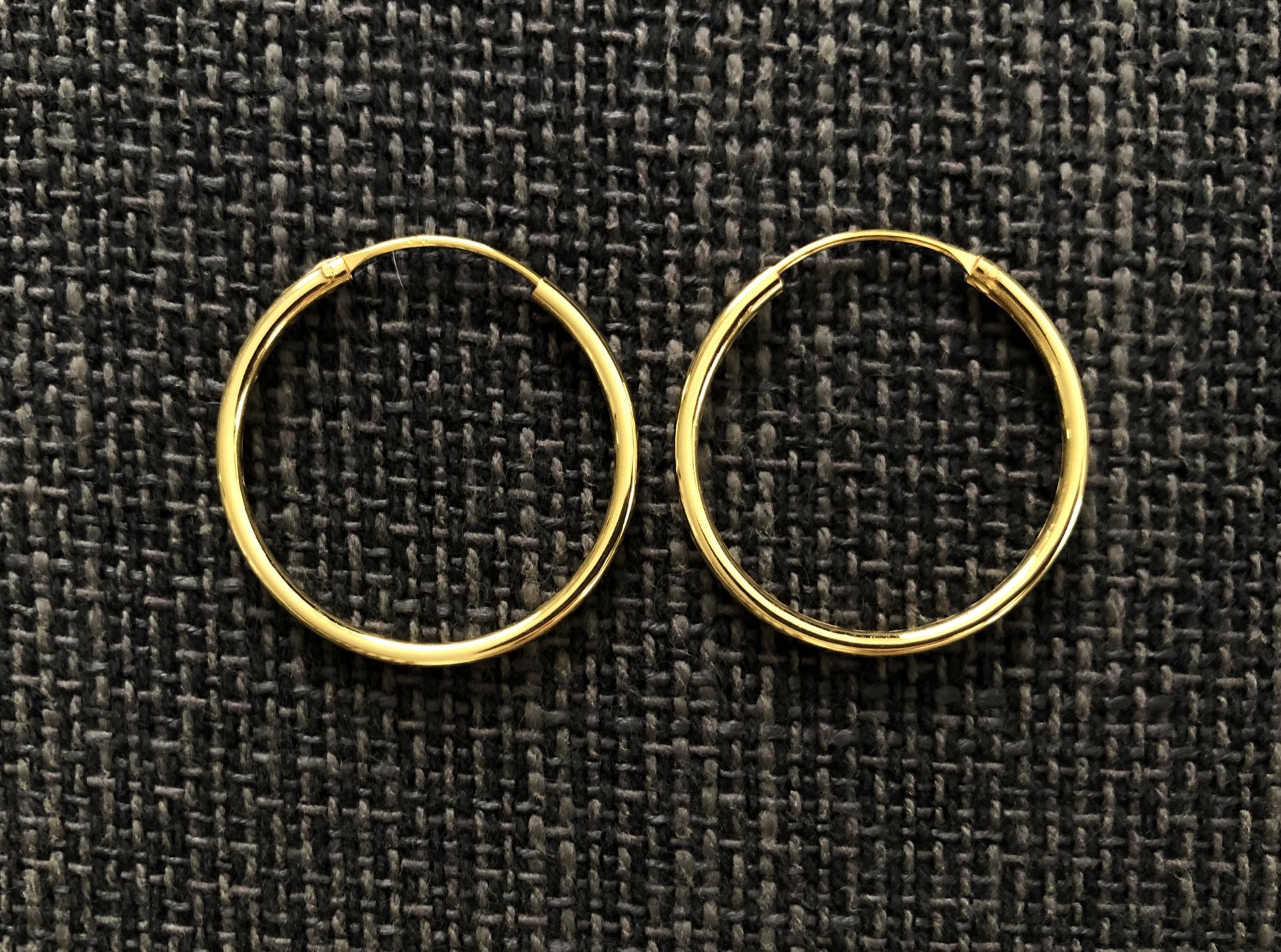 Aros de plata con baño de oro 30 mm grueso