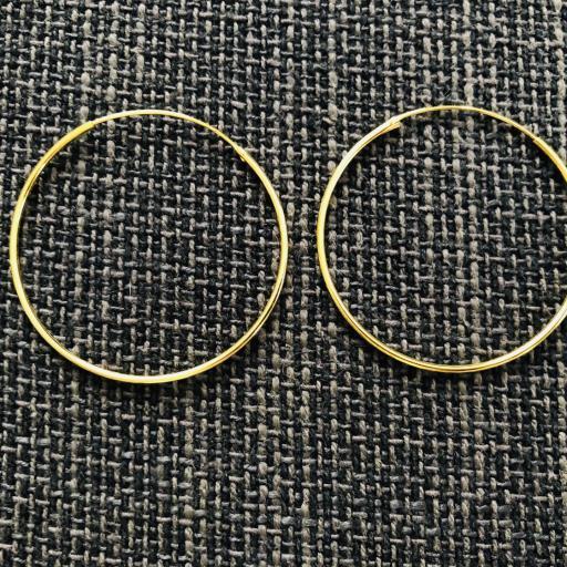 Aros de plata con baño de oro 40 mm