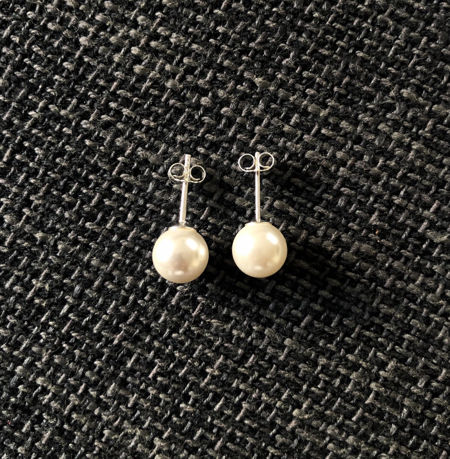 Pendientes de plata y perla natural