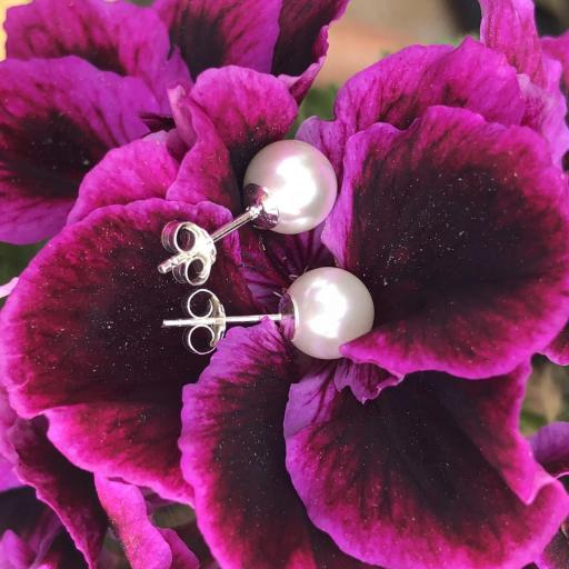 Pendientes de plata y perla natural [3]