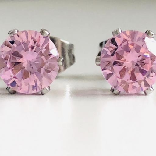 Pendientes de botón con cristal rosa engarzado [2]