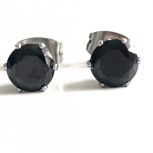 Pendientes de botón con cristal negro engarzado [2]
