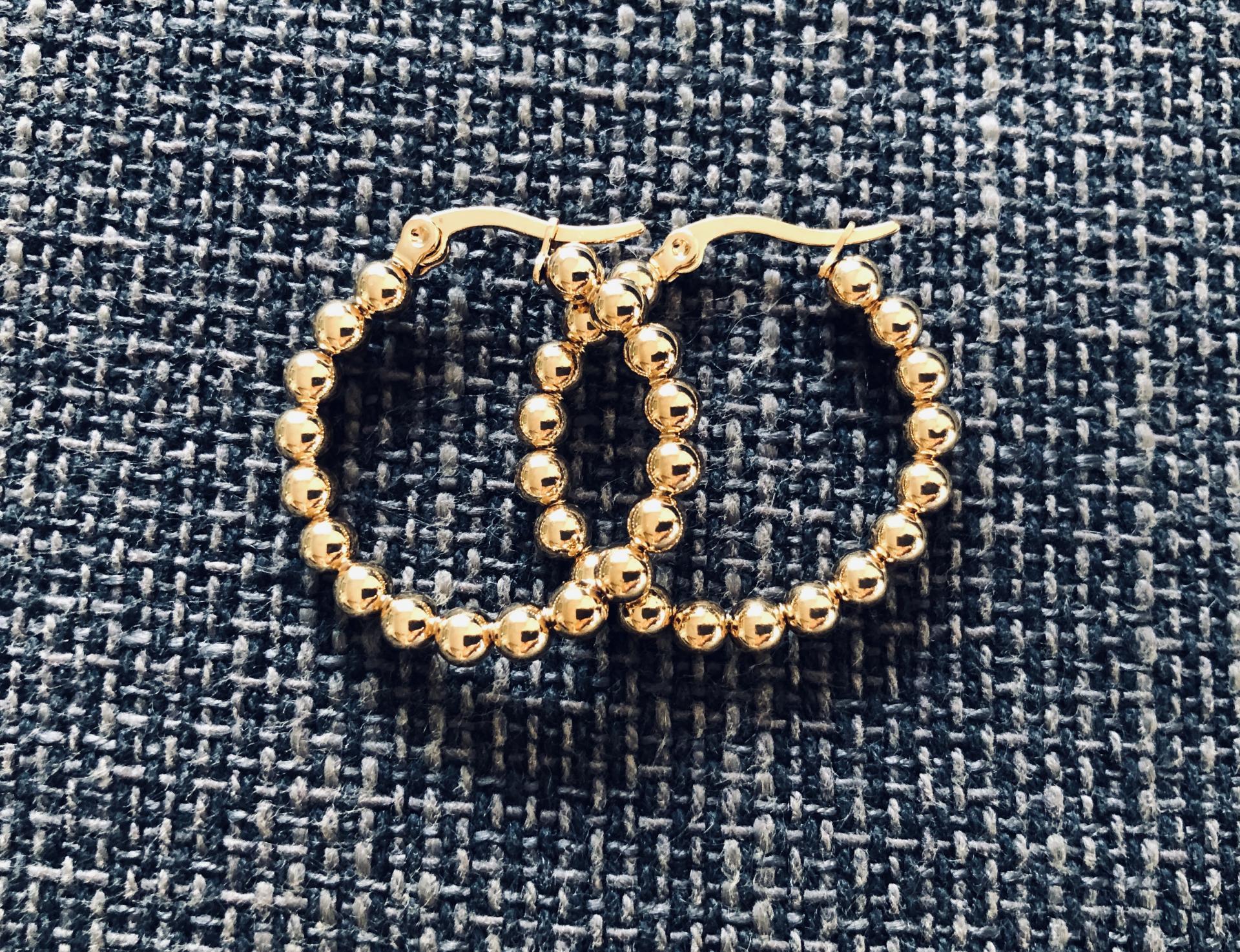 Aros de bolas doradas 24 mm