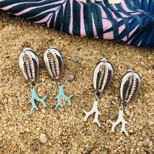 """Pendientes """"cauri"""" con forma coral turquesa [3]"""