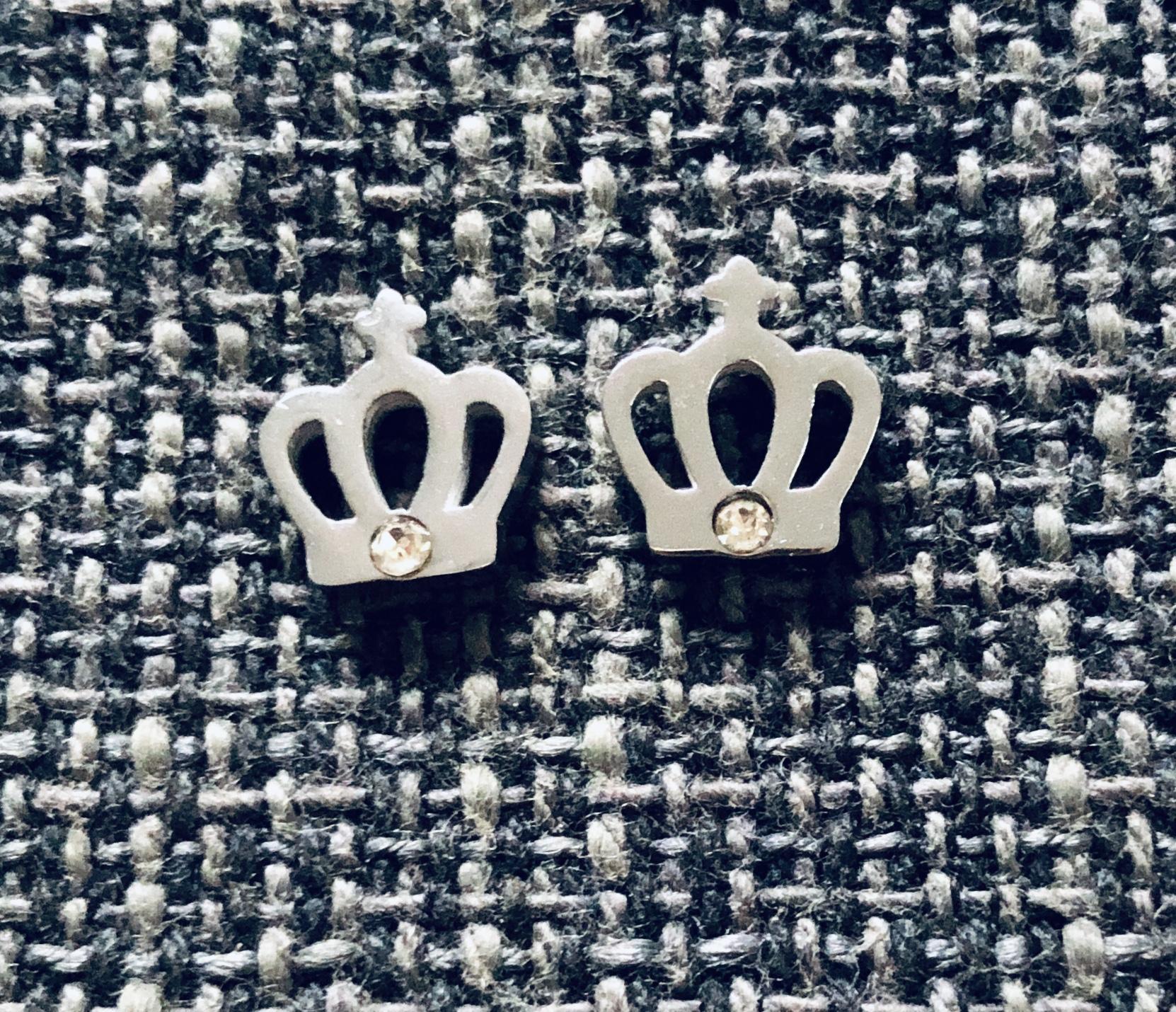 Pendientes corona con cristal tallado