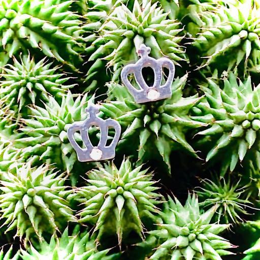 Pendientes corona con cristal tallado [3]