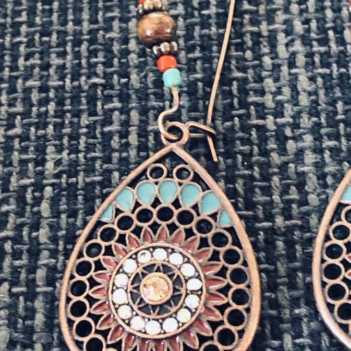 Pendientes gota de cobre con bolitas [1]