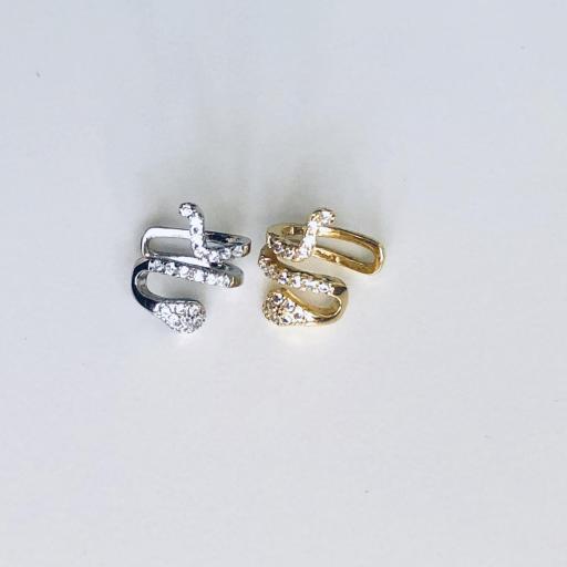 Earcuff serpiente de plata con baño de oro y circonitas (venta por unidad) [2]